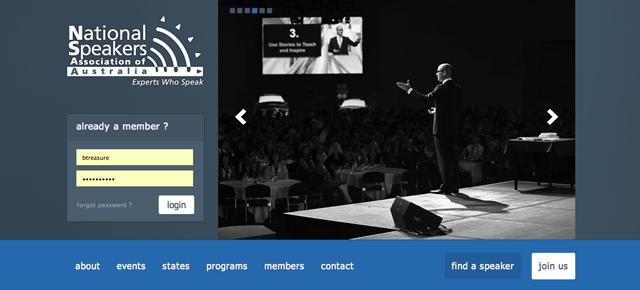 professional speakers association screenshot