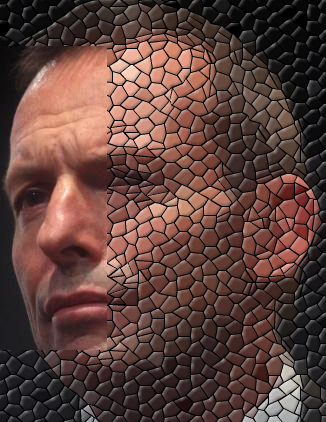 Tony Abbott's face with mosaic tile effect
