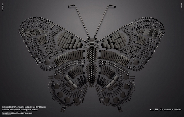 Intricate butterfly composed of metallic door handle parts